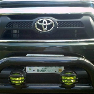 Green tint and light guards for bullbar lights