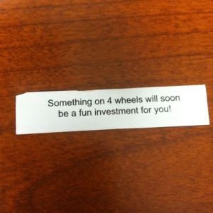 My fortune cookie is very wise.