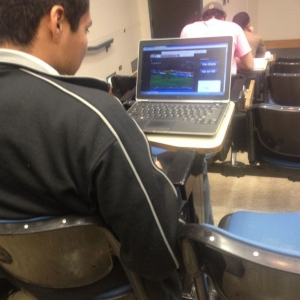 Sitting in class and these guys decide to watch fucking soccer in front of