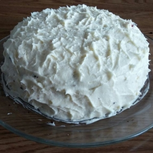Gluten free chocolate cake with cherry filling and butter cream frosting :h