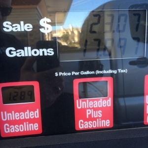 Inexpensive texas gas plus grocery store gas points equals $1.28 a gallon!