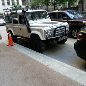 Old Land Rover in downtown Pittsburgh