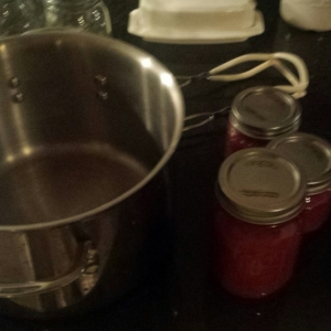 Fresh catsup, started with the pot on the left nearly full, ended up with about 2 pints of actual catsup