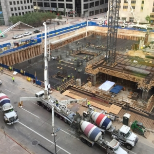 Nerd alert! (Not live,from yesterday ) New high rise office building in downtown Houston. Concrete pour for mat foundation. Will last 22 hrs. 930 truc