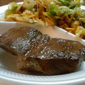 Deer backstrap steak and taco salad