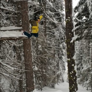 Jumping off a deer stand we found while back country skiing lol