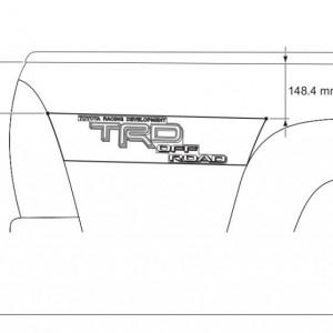 TRD Bedside Decals Passenger's Side Measurements