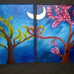 Channeled my inner @ERMB with the wife tonight.  Mine on the left. Not too bad for my first ever painting I think. :D