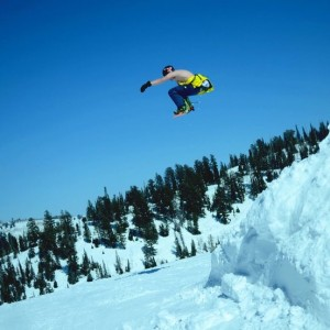 Jumping at powder topless!