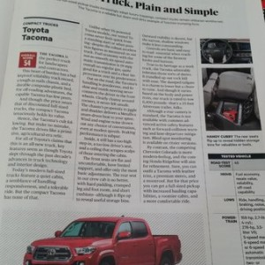 Not a great write up in Consumer Reports for the Tacoma.