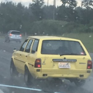 Saw this sweet old school Yota just outside of Seattle. Dude gave me a thumbs up as he passed.